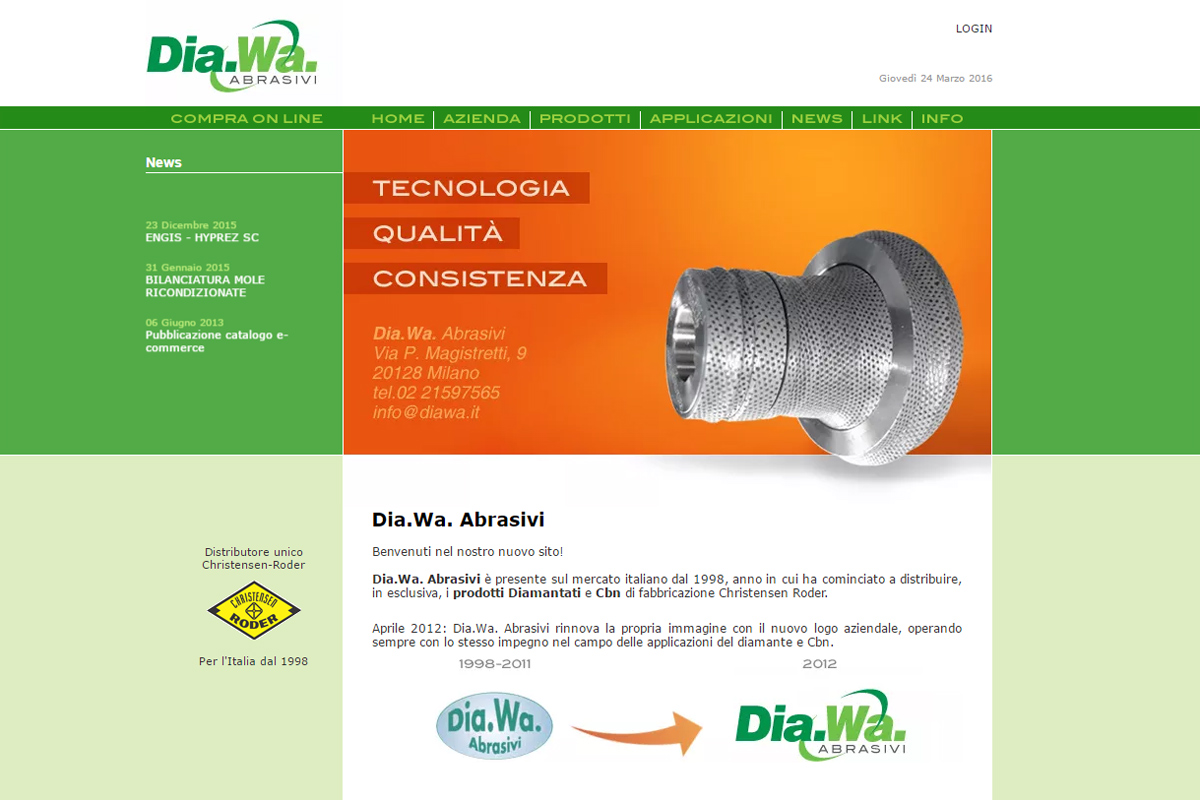 Homepage del sito web Dia.Wa. Abrasivi