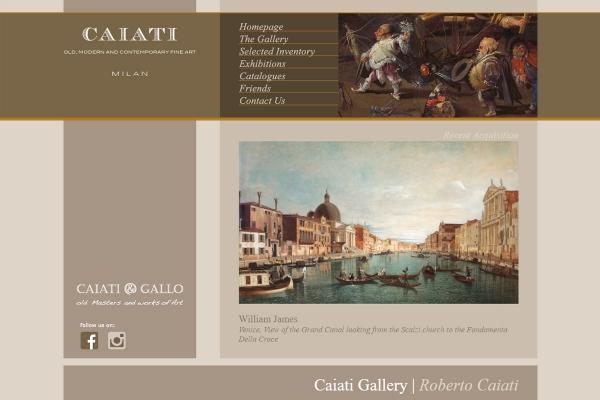 Homepage del sito web della galleria d'Arte Caiati di Milano
