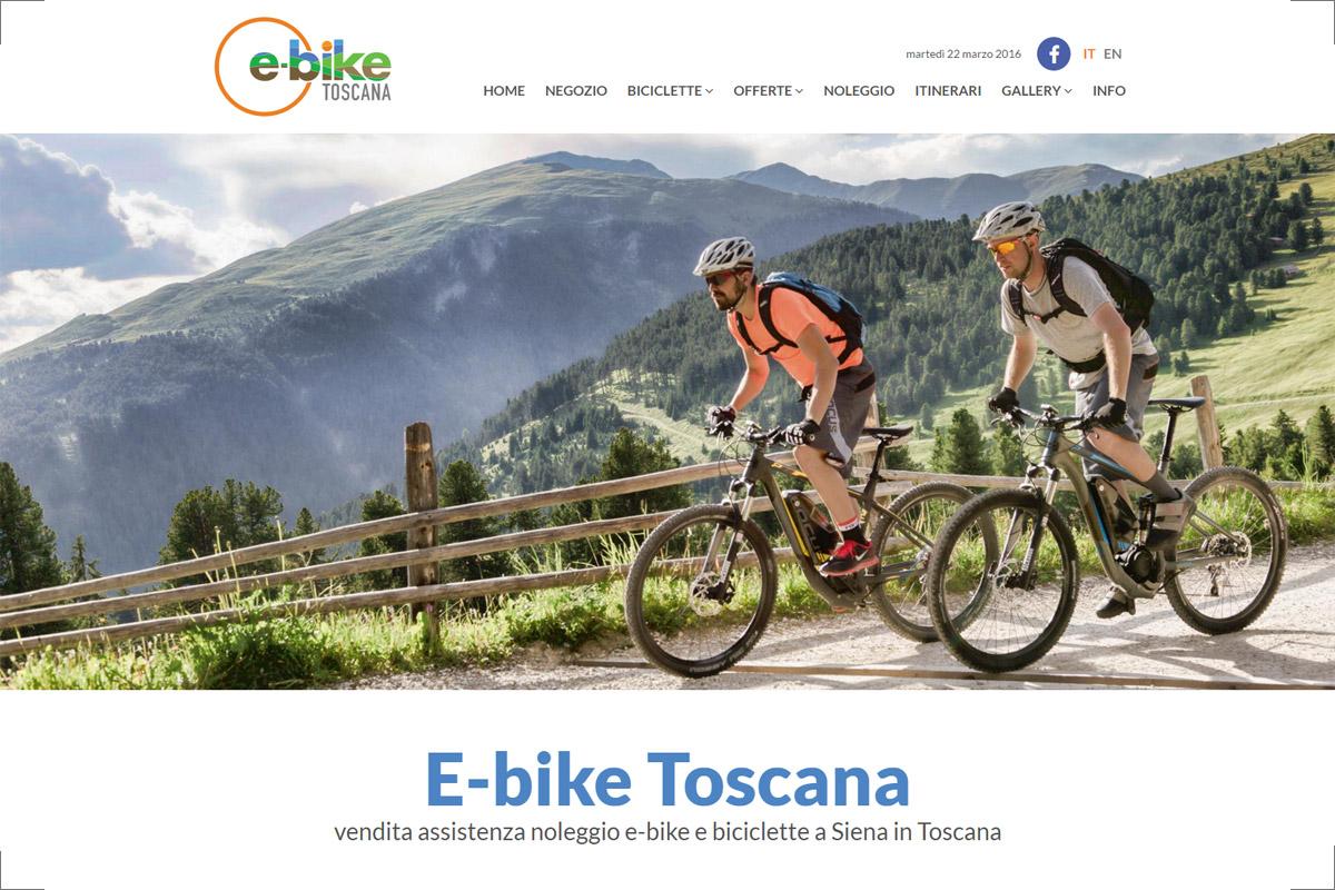Homepage del sito web del negozio E-bike Toscana di Siena
