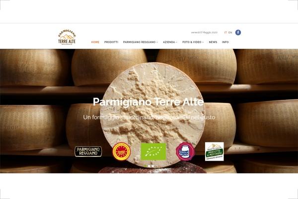 Homepage del sito web Parmigiano Terre Alte